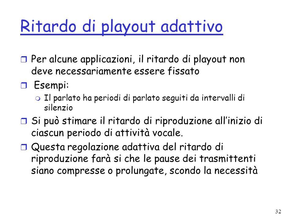 32 Ritardo di playout adattivo r Per alcune applicazioni, il ritardo di playout non deve necessariamente essere fissato r Esempi: m Il parlato ha peri