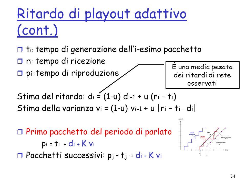34 Ritardo di playout adattivo (cont.) r t i: tempo di generazione delli-esimo pacchetto r r i: tempo di ricezione r p i: tempo di riproduzione Stima