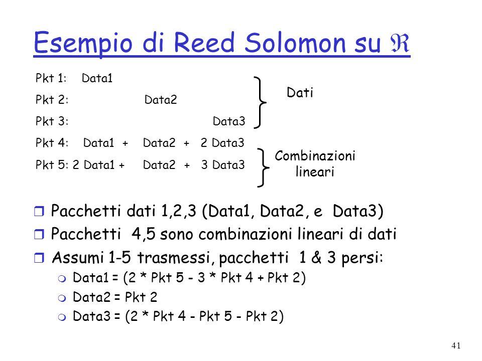 41 Esempio di Reed Solomon su r Pacchetti dati 1,2,3 (Data1, Data2, e Data3) r Pacchetti 4,5 sono combinazioni lineari di dati r Assumi 1-5 trasmessi,