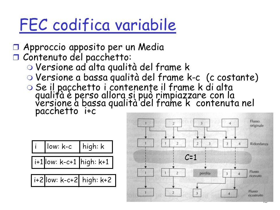 43 FEC codifica variabile r Approccio apposito per un Media r Contenuto del pacchetto: m Versione ad alta qualità del frame k m Versione a bassa quali