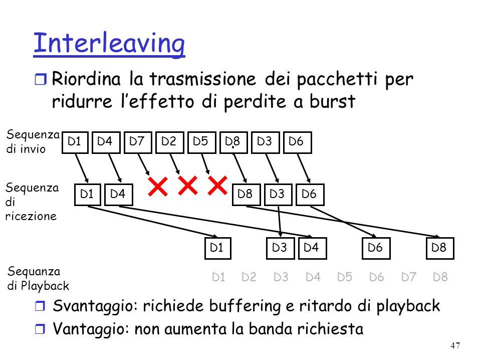 47 Interleaving r Riordina la trasmissione dei pacchetti per ridurre leffetto di perdite a burst D1D4D7D2D5D8D3D6 D1D4D8D3D6 Sequenza di invio Sequenz