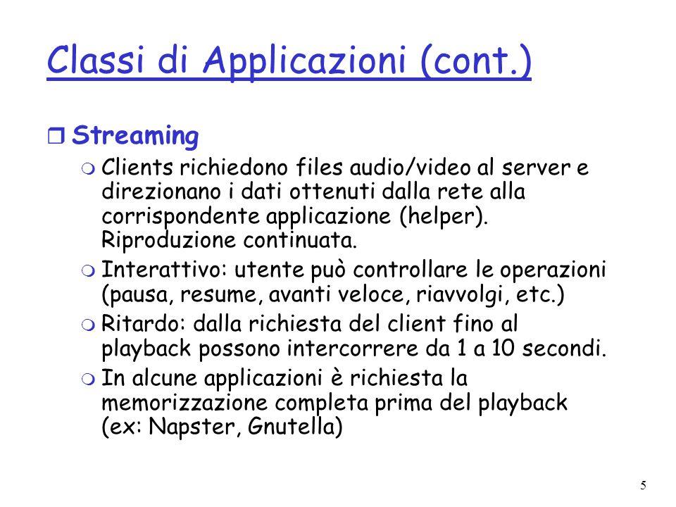 5 Classi di Applicazioni (cont.) r Streaming m Clients richiedono files audio/video al server e direzionano i dati ottenuti dalla rete alla corrispond