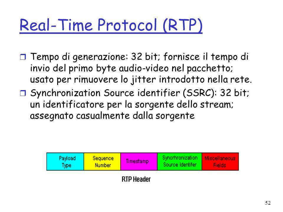 52 Real-Time Protocol (RTP) r Tempo di generazione: 32 bit; fornisce il tempo di invio del primo byte audio-video nel pacchetto; usato per rimuovere l