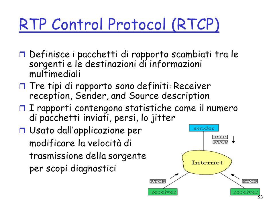 53 RTP Control Protocol (RTCP) r Definisce i pacchetti di rapporto scambiati tra le sorgenti e le destinazioni di informazioni multimediali r Tre tipi