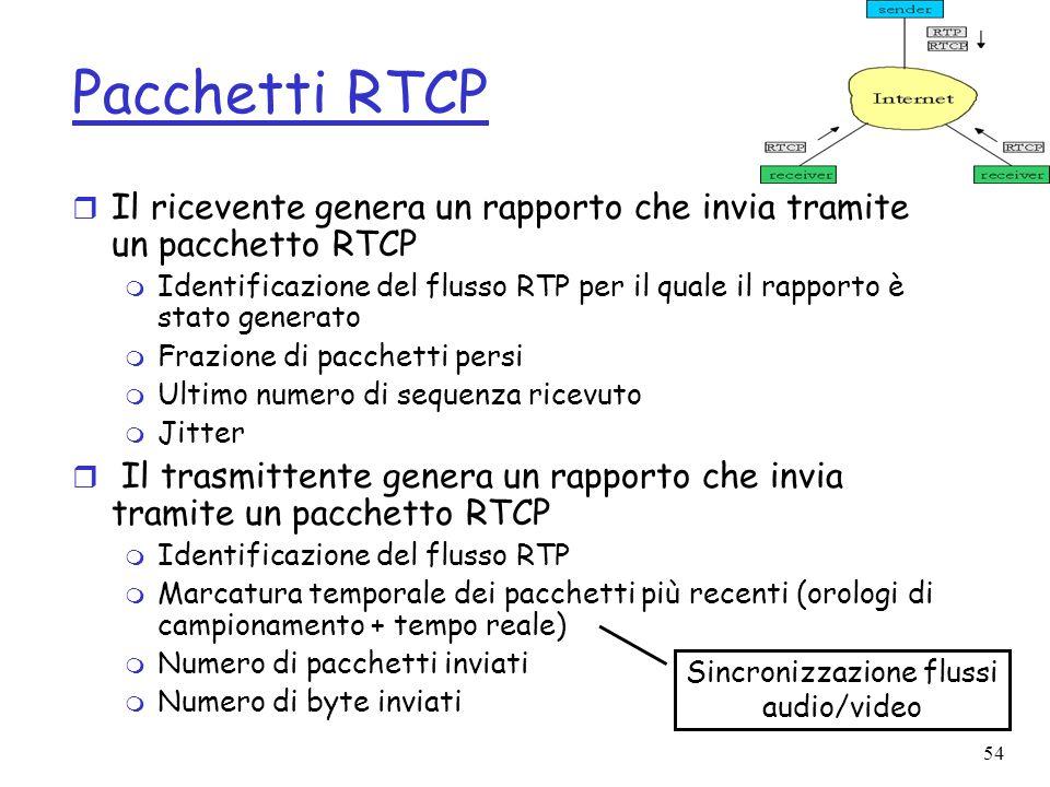54 Pacchetti RTCP r Il ricevente genera un rapporto che invia tramite un pacchetto RTCP m Identificazione del flusso RTP per il quale il rapporto è st