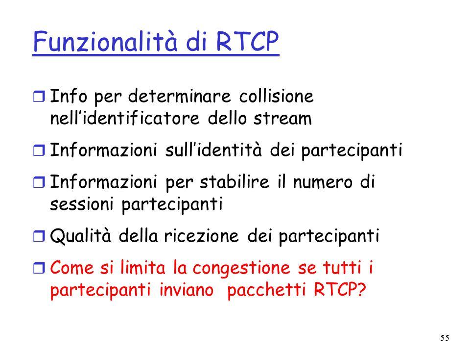 55 Funzionalità di RTCP r Info per determinare collisione nellidentificatore dello stream r Informazioni sullidentità dei partecipanti r Informazioni