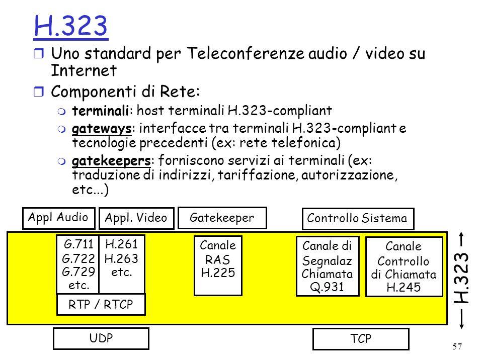 57 H.323 r Uno standard per Teleconferenze audio / video su Internet r Componenti di Rete: m terminali: host terminali H.323-compliant m gateways: int