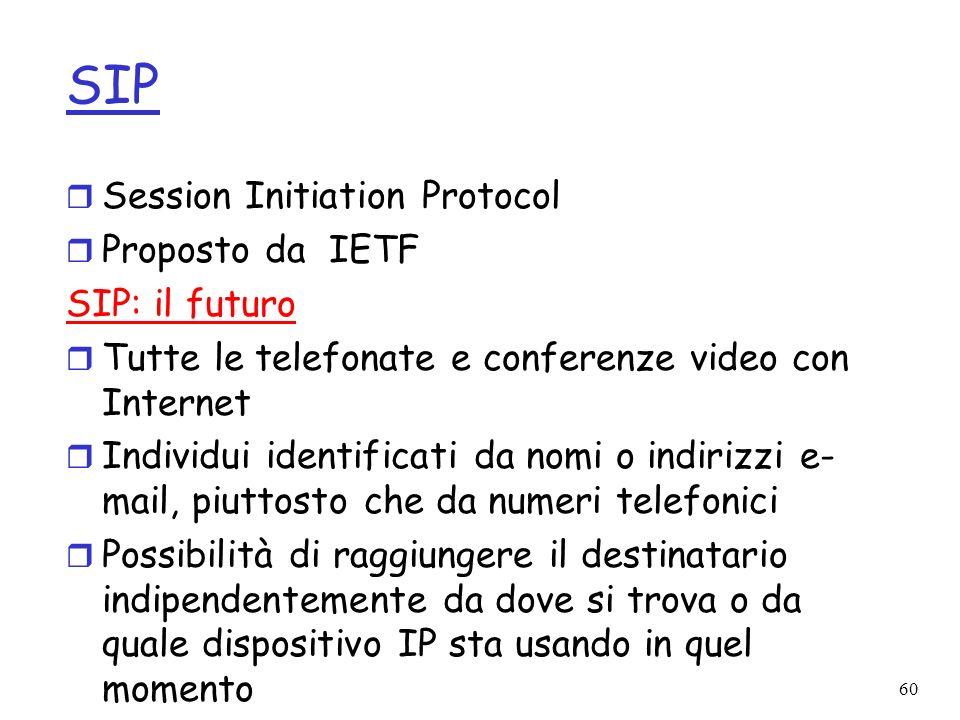 60 SIP r Session Initiation Protocol r Proposto da IETF SIP: il futuro r Tutte le telefonate e conferenze video con Internet r Individui identificati