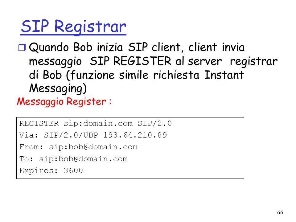 66 SIP Registrar REGISTER sip:domain.com SIP/2.0 Via: SIP/2.0/UDP 193.64.210.89 From: sip:bob@domain.com To: sip:bob@domain.com Expires: 3600 r Quando