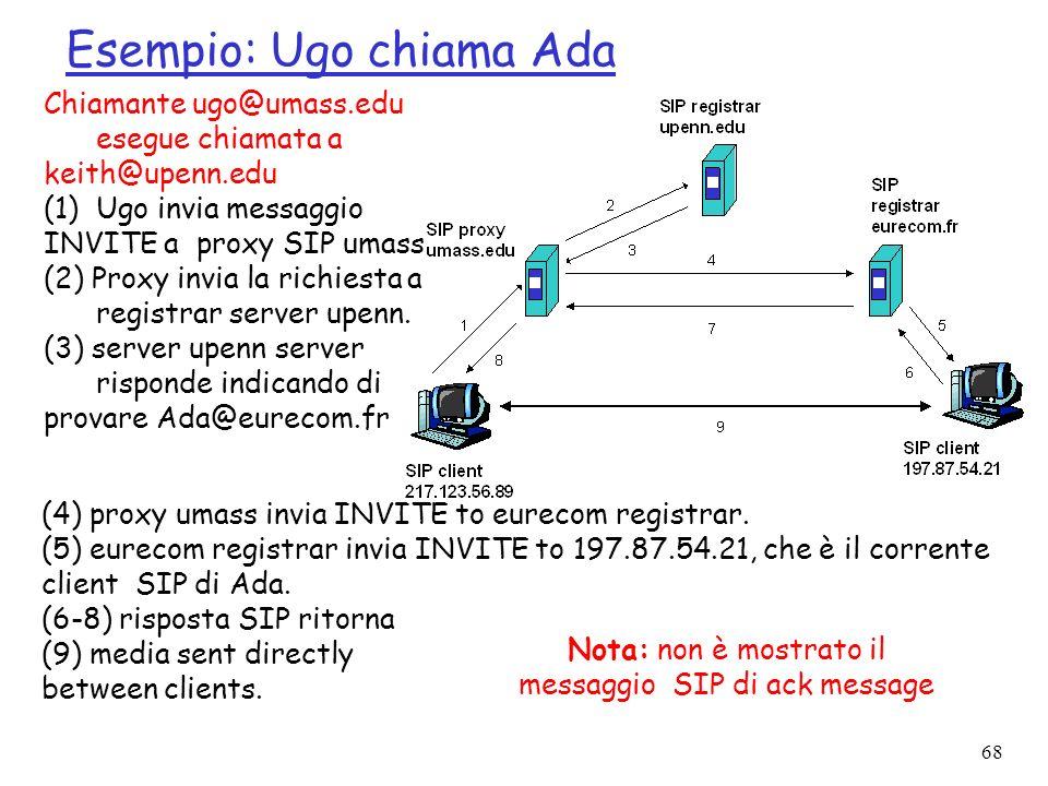68 Esempio: Ugo chiama Ada Chiamante ugo@umass.edu esegue chiamata a keith@upenn.edu (1)Ugo invia messaggio INVITE a proxy SIP umass (2) Proxy invia l