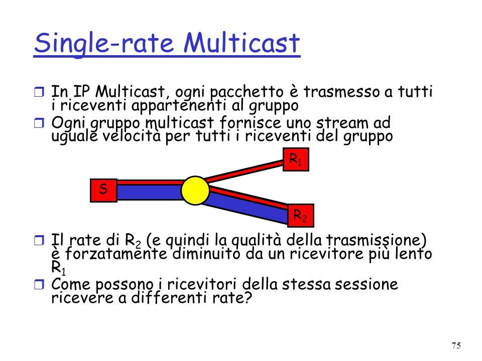 75 Single-rate Multicast r In IP Multicast, ogni pacchetto è trasmesso a tutti i riceventi appartenenti al gruppo r Ogni gruppo multicast fornisce uno