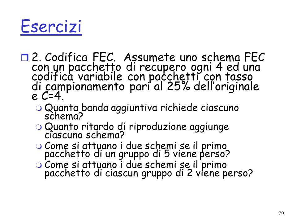 79 Esercizi r 2. Codifica FEC. Assumete uno schema FEC con un pacchetto di recupero ogni 4 ed una codifica variabile con pacchetti con tasso di campio