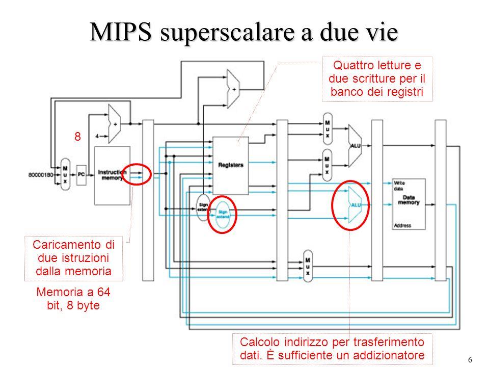 6 MIPS superscalare a due vie Caricamento di due istruzioni dalla memoria Memoria a 64 bit, 8 byte Quattro letture e due scritture per il banco dei re