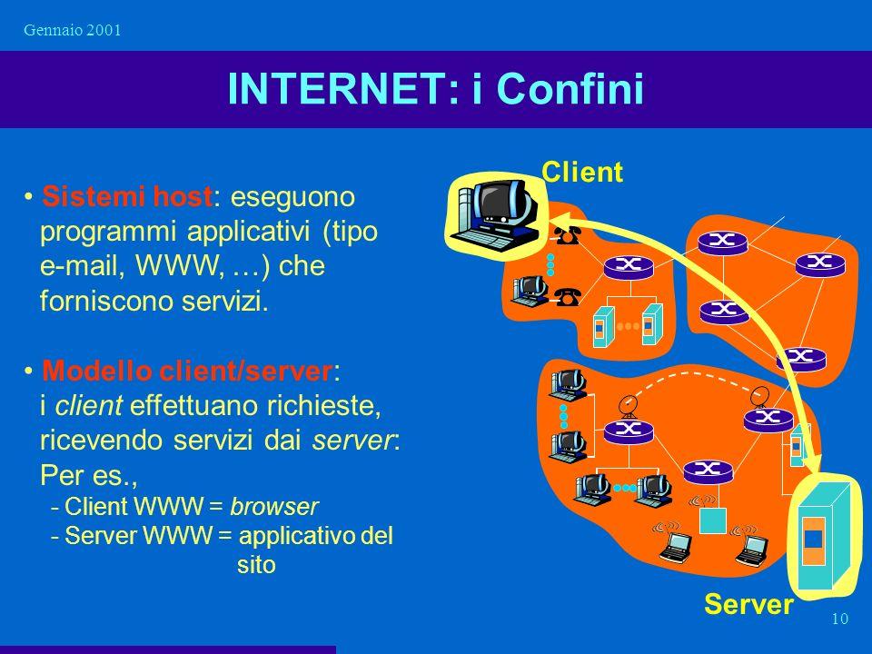 Gennaio 2001 10 INTERNET: i Confini Sistemi host: eseguono programmi applicativi (tipo e-mail, WWW, …) che forniscono servizi. Modello client/server:
