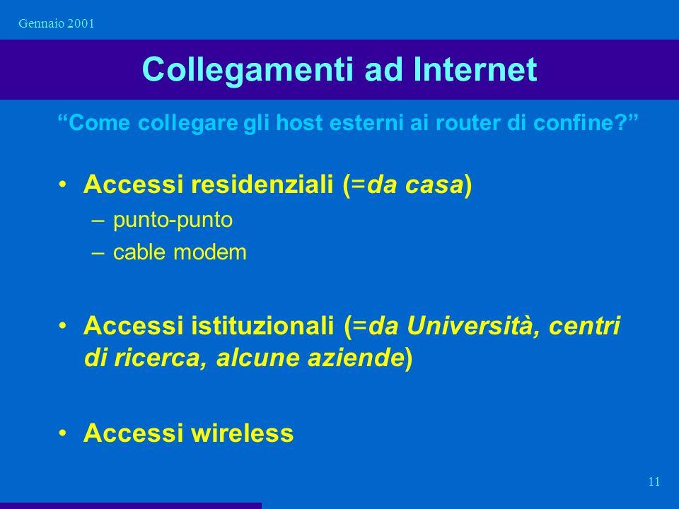Gennaio 2001 11 Collegamenti ad Internet Accessi residenziali (=da casa) –punto-punto –cable modem Accessi istituzionali (=da Università, centri di ri
