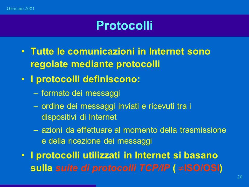 Gennaio 2001 20 Protocolli Tutte le comunicazioni in Internet sono regolate mediante protocolli I protocolli definiscono: –formato dei messaggi –ordin