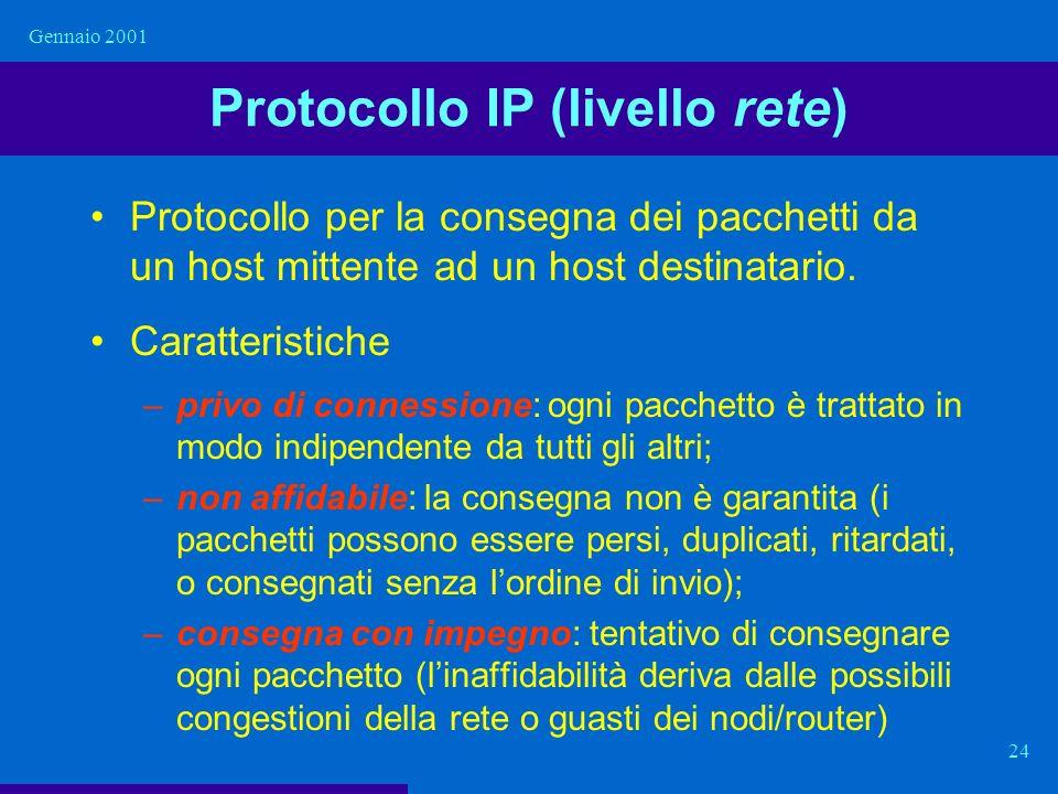 Gennaio 2001 24 Protocollo IP (livello rete) Protocollo per la consegna dei pacchetti da un host mittente ad un host destinatario. Caratteristiche –pr