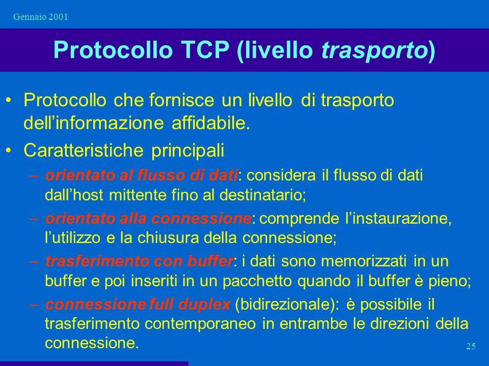 Gennaio 2001 25 Protocollo TCP (livello trasporto) Protocollo che fornisce un livello di trasporto dellinformazione affidabile. Caratteristiche princi