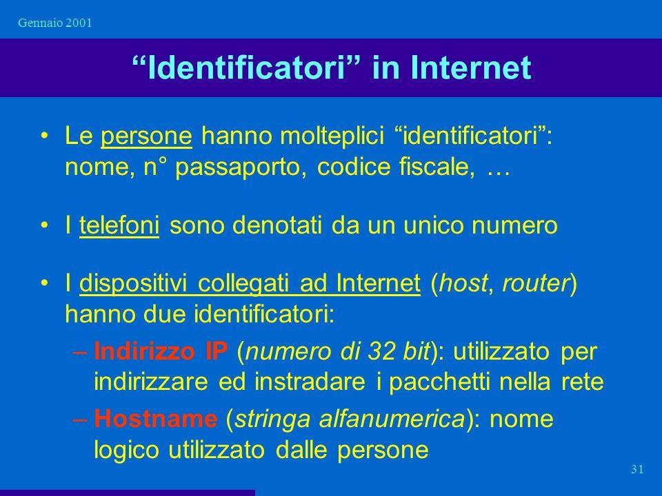 Gennaio 2001 31 Identificatori in Internet Le persone hanno molteplici identificatori: nome, n° passaporto, codice fiscale, … I telefoni sono denotati