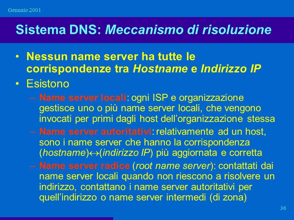 Gennaio 2001 36 Sistema DNS: Meccanismo di risoluzione Nessun name server ha tutte le corrispondenze tra Hostname e Indirizzo IP Esistono –Name server