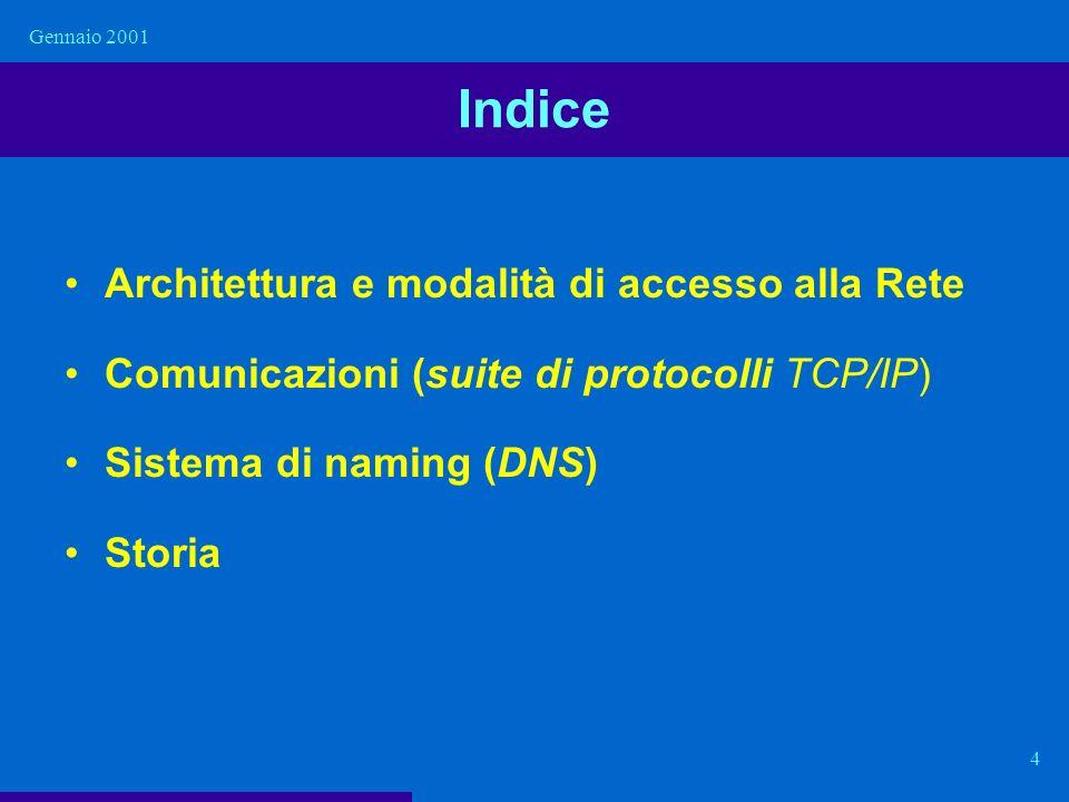 Gennaio 2001 4 Indice Architettura e modalità di accesso alla Rete Comunicazioni (suite di protocolli TCP/IP) Sistema di naming (DNS) Storia