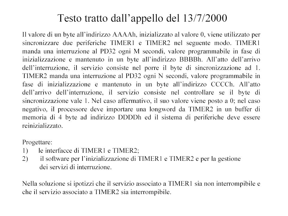 Interfaccia del Timer1 I/O AB I/O DB I/O CB Dec SELECT START IRQ SCO R Q S Q STATUS STARTDEV COMPLETE CLEAR IVN CPU IACK IN IACK OUT IRQ IOWR REG COUNTER DEC TC R Q S Q IM SETIMCLRIM LD OR Non strettamente neces- sario TIMER1 è non interrompibile