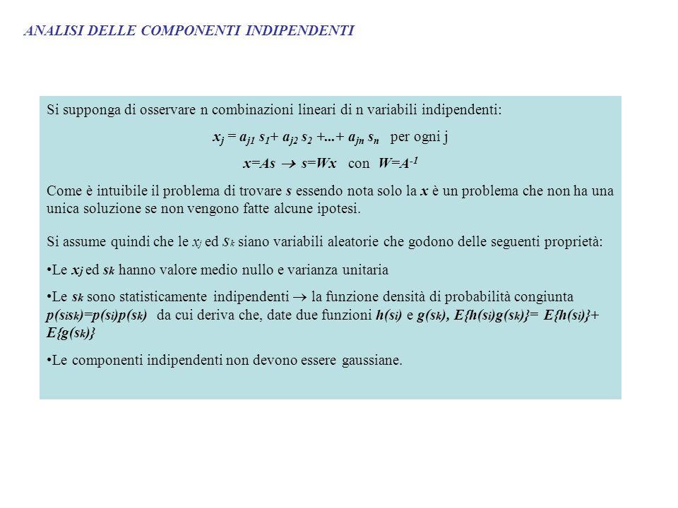 ANALISI DELLE COMPONENTI INDIPENDENTI Si supponga di osservare n combinazioni lineari di n variabili indipendenti: x j = a j1 s 1 + a j2 s 2 +...+ a jn s n per ogni j x=As s=Wx con W=A -1 Come è intuibile il problema di trovare s essendo nota solo la x è un problema che non ha una unica soluzione se non vengono fatte alcune ipotesi.