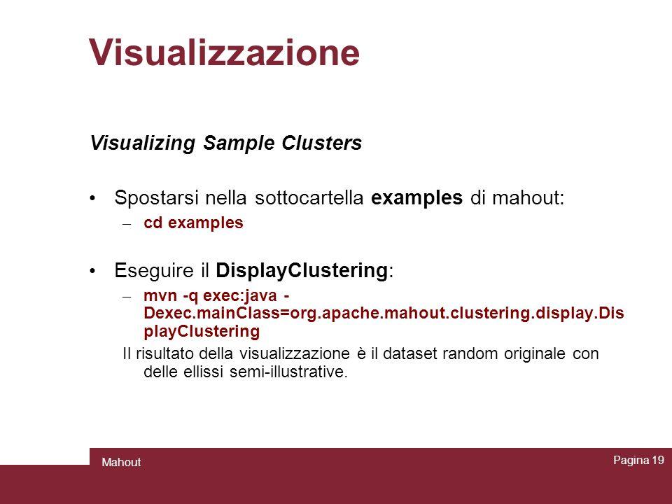 Visualizzazione Visualizing Sample Clusters Spostarsi nella sottocartella examples di mahout: – cd examples Eseguire il DisplayClustering: – mvn -q ex