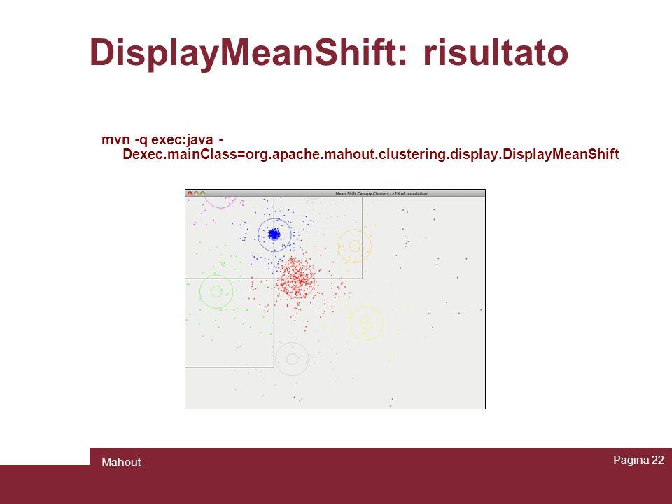 DisplayMeanShift: risultato Pagina 22 Mahout mvn -q exec:java - Dexec.mainClass=org.apache.mahout.clustering.display.DisplayMeanShift