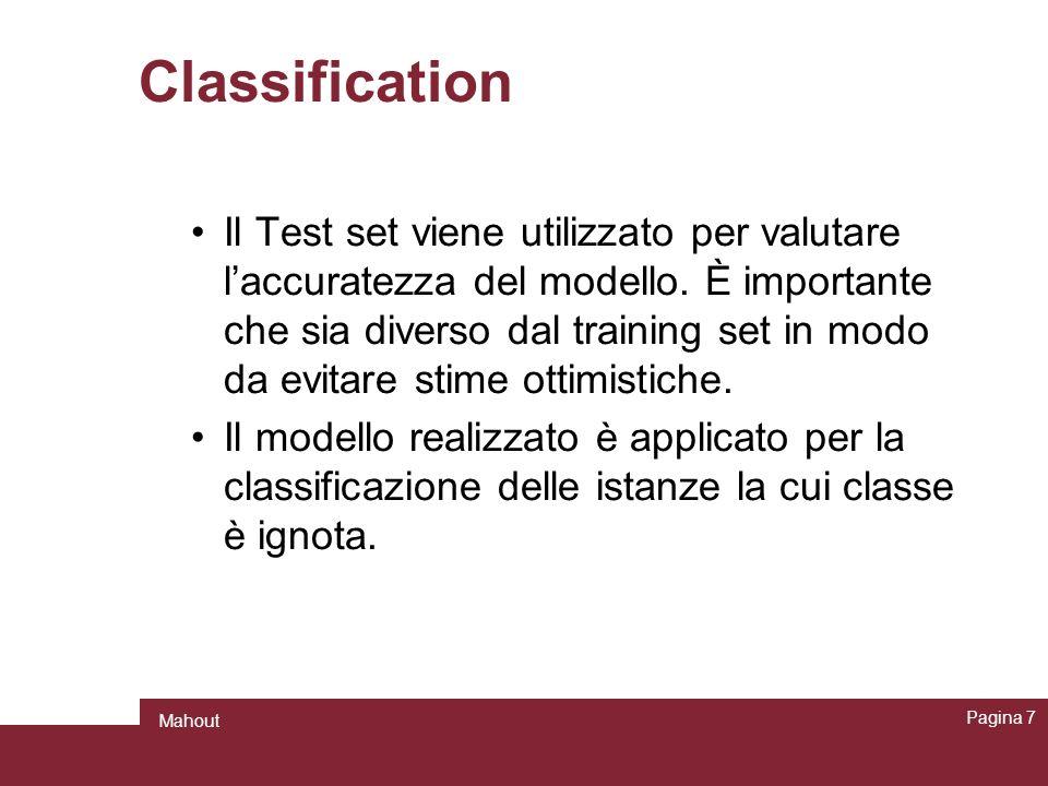Classification Il Test set viene utilizzato per valutare laccuratezza del modello. È importante che sia diverso dal training set in modo da evitare st