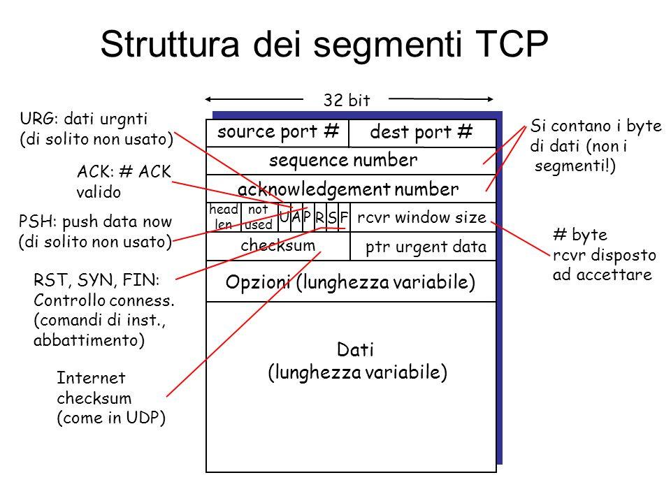 TCP: generalità RFCs: 793, 1122, 1323, 2018, 2581 Full duplex: –Flusso dati bi-direzionale sulla stessa connessione –MSS: Maximum Segment Size Connection-oriented: –handshaking (scambio di msg di controllo) inizializza gli stati di mitt.