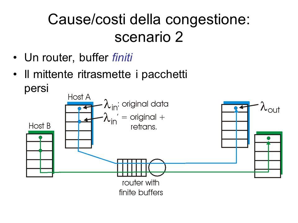 Cause/costi della congestione: scenario 1 Due mittenti, due riceventi Un router, buffer infiniti Nessuna ritrasmissione Grandi ritardi se congestione Throughput (ritmo di trasm.) massimo ottenibile