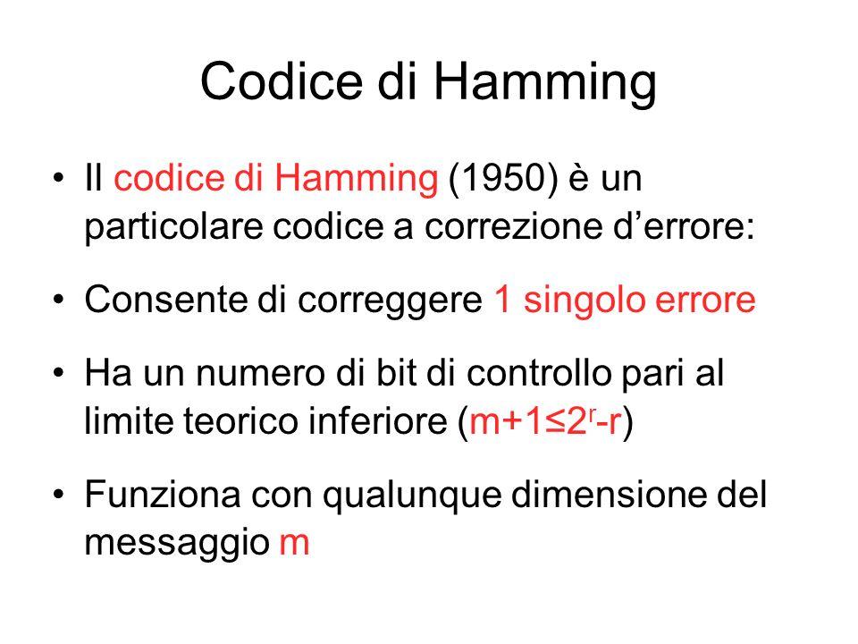 Codice di Hamming Il codice di Hamming (1950) è un particolare codice a correzione derrore: Consente di correggere 1 singolo errore Ha un numero di bi