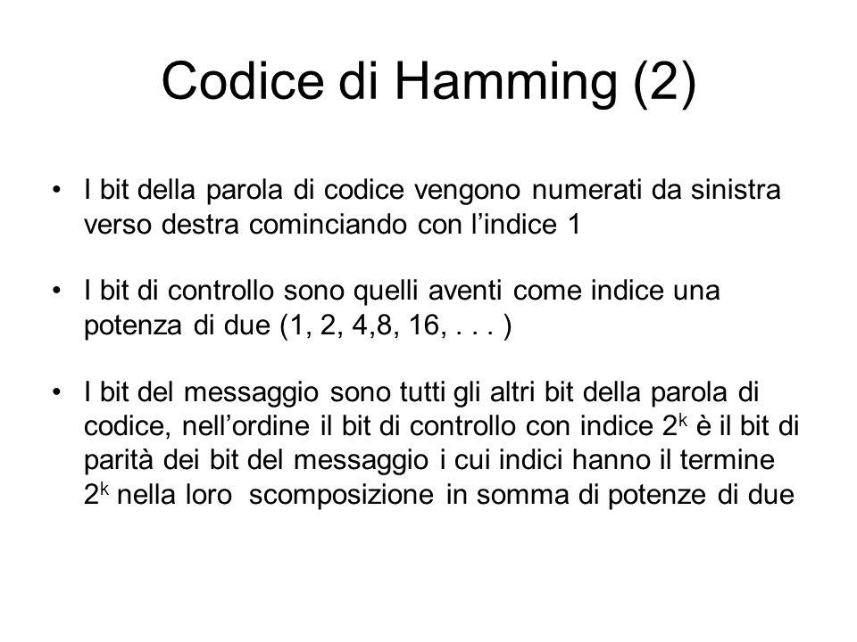 Codice di Hamming (2) I bit della parola di codice vengono numerati da sinistra verso destra cominciando con lindice 1 I bit di controllo sono quelli