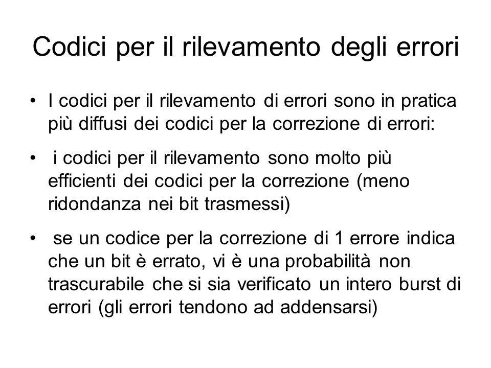 I codici per il rilevamento di errori sono in pratica più diffusi dei codici per la correzione di errori: i codici per il rilevamento sono molto più e