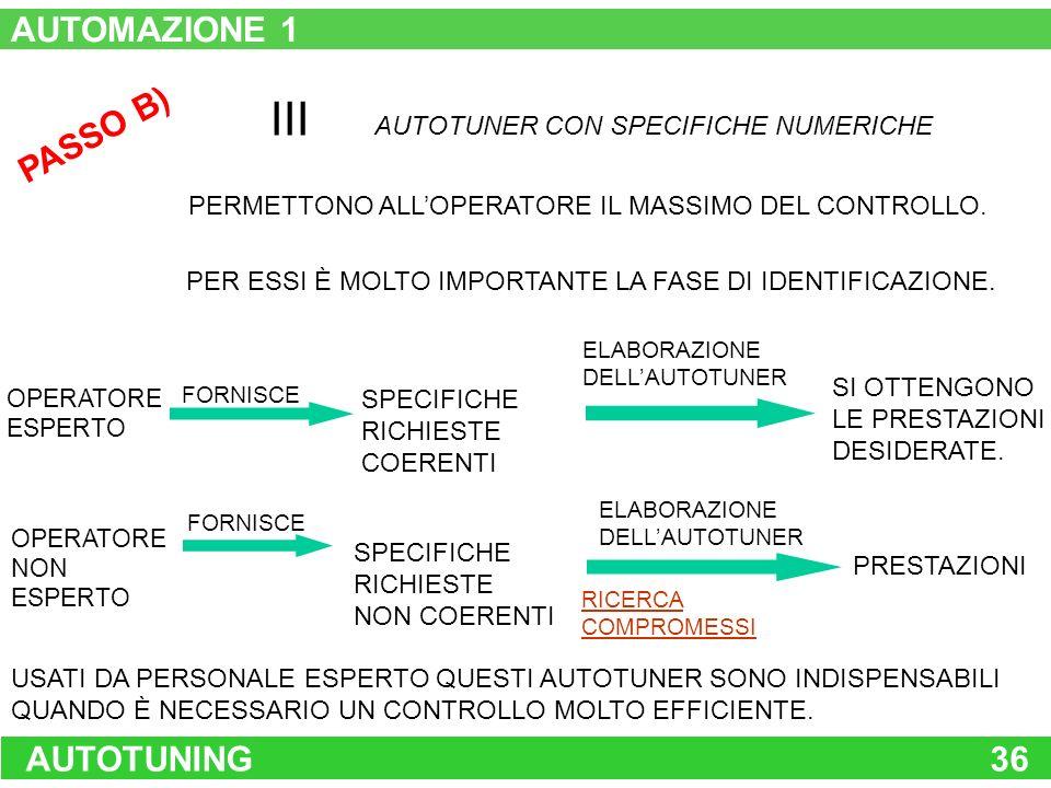 AUTOTUNING36 PASSO B) III AUTOTUNER CON SPECIFICHE NUMERICHE PERMETTONO ALLOPERATORE IL MASSIMO DEL CONTROLLO. PER ESSI È MOLTO IMPORTANTE LA FASE DI