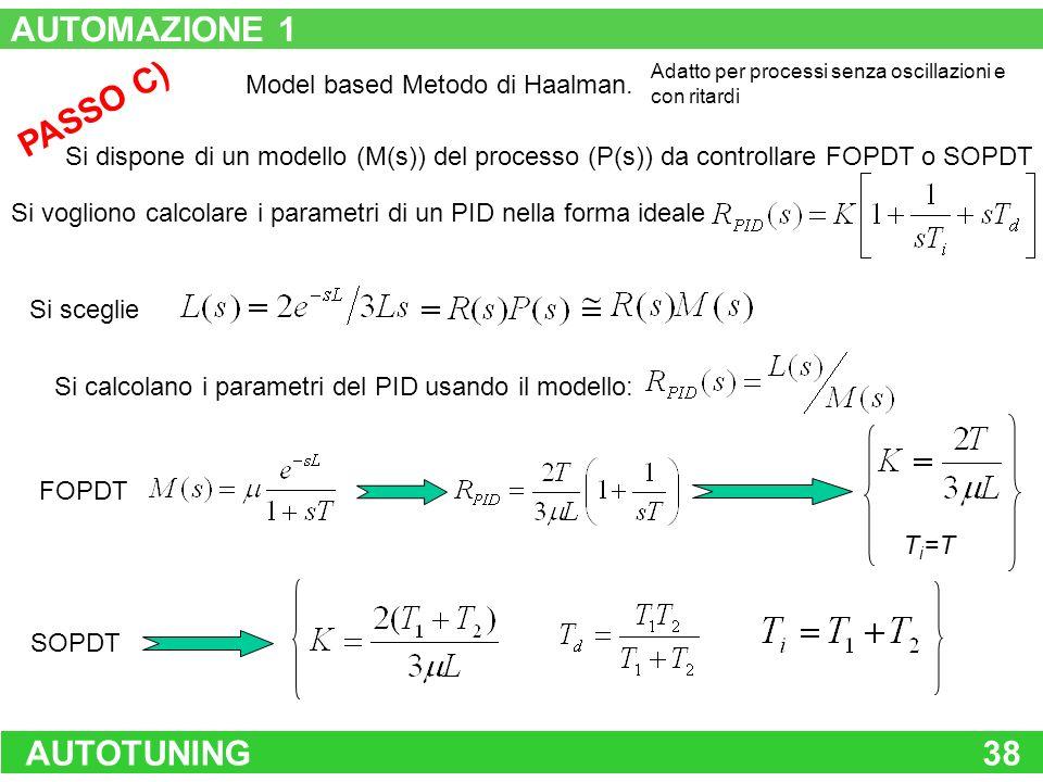 AUTOTUNING38 PASSO C) Model based Metodo di Haalman. Si dispone di un modello (M(s)) del processo (P(s)) da controllare FOPDT o SOPDT Si vogliono calc