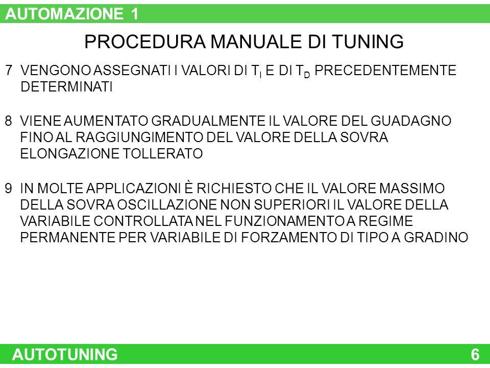 AUTOTUNING6 PROCEDURA MANUALE DI TUNING 7 VENGONO ASSEGNATI I VALORI DI T I E DI T D PRECEDENTEMENTE DETERMINATI 8 VIENE AUMENTATO GRADUALMENTE IL VAL