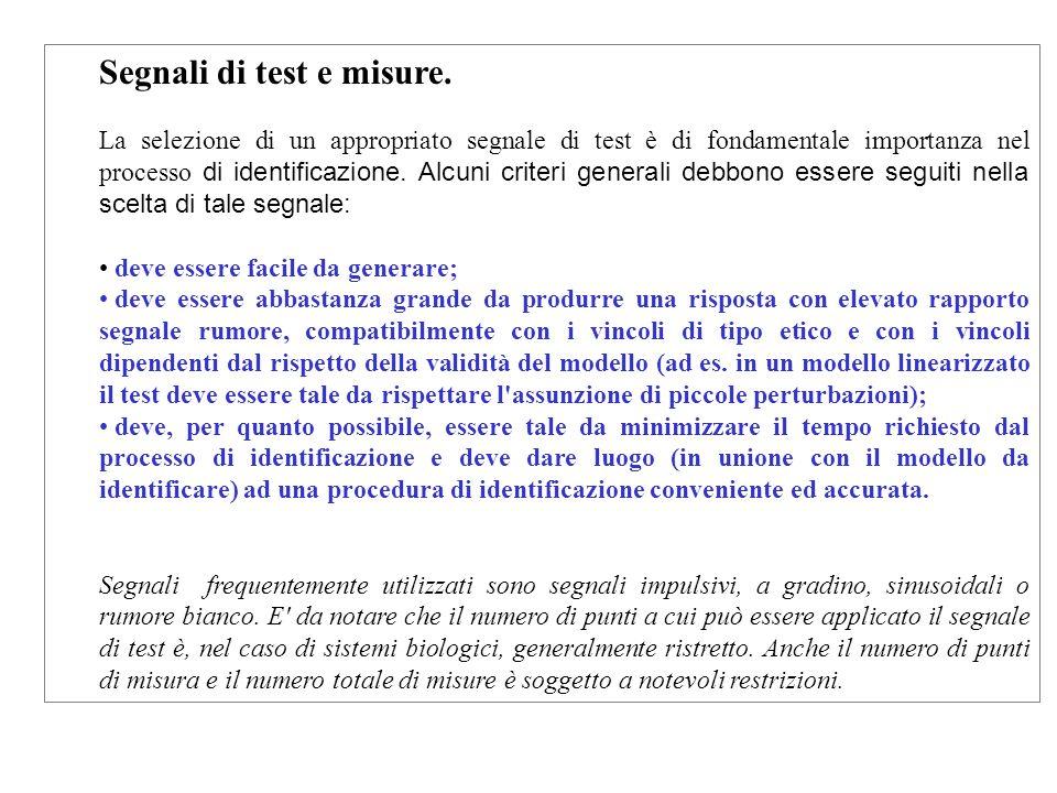 Segnali di test e misure. La selezione di un appropriato segnale di test è di fondamentale importanza nel processo di identificazione. Alcuni criteri