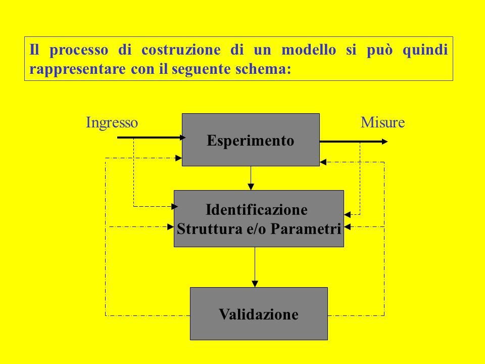 Il processo di costruzione di un modello si può quindi rappresentare con il seguente schema: Esperimento IngressoMisure Identificazione Struttura e/o