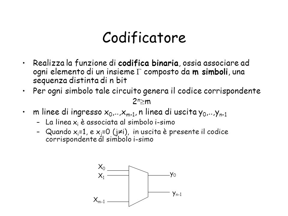 Codificatore Realizza la funzione di codifica binaria, ossia associare ad ogni elemento di un insieme composto da m simboli, una sequenza distinta di