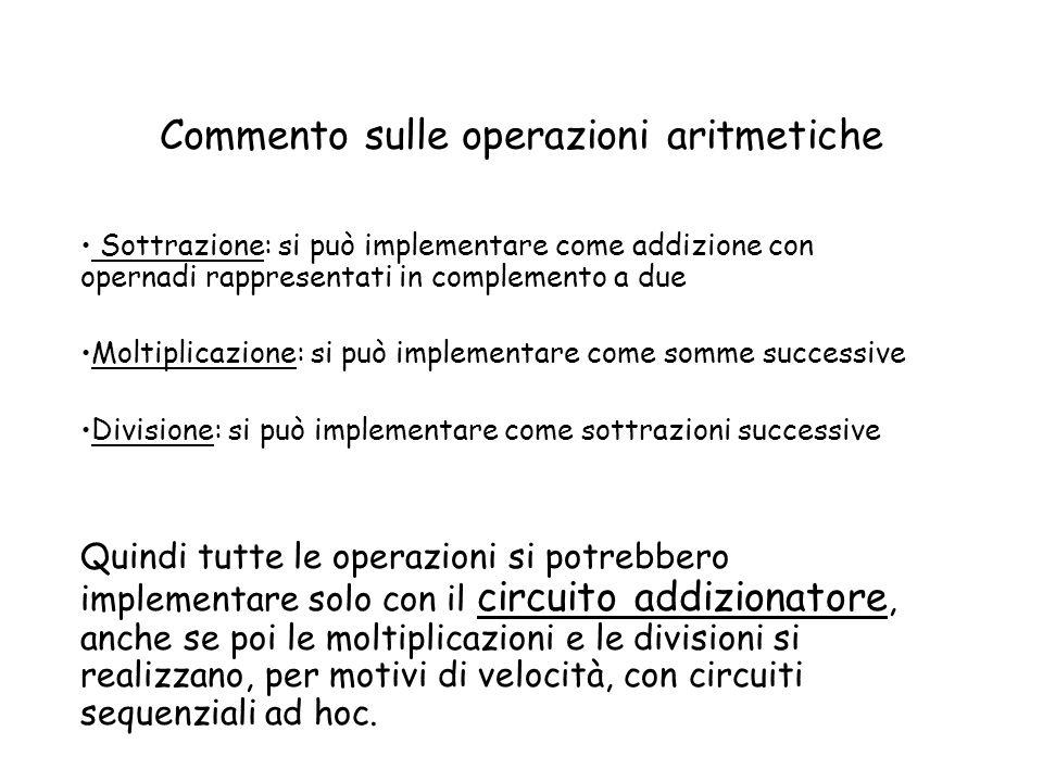 Commento sulle operazioni aritmetiche Sottrazione: si può implementare come addizione con opernadi rappresentati in complemento a due Moltiplicazione: