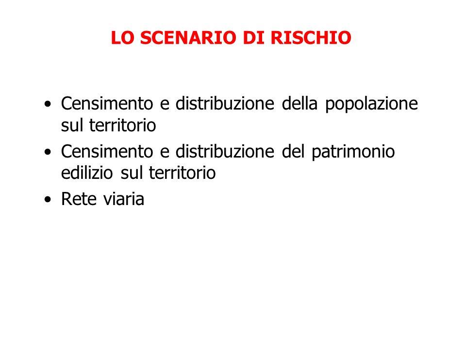 LO SCENARIO DI RISCHIO Censimento e distribuzione della popolazione sul territorio Censimento e distribuzione del patrimonio edilizio sul territorio Rete viaria