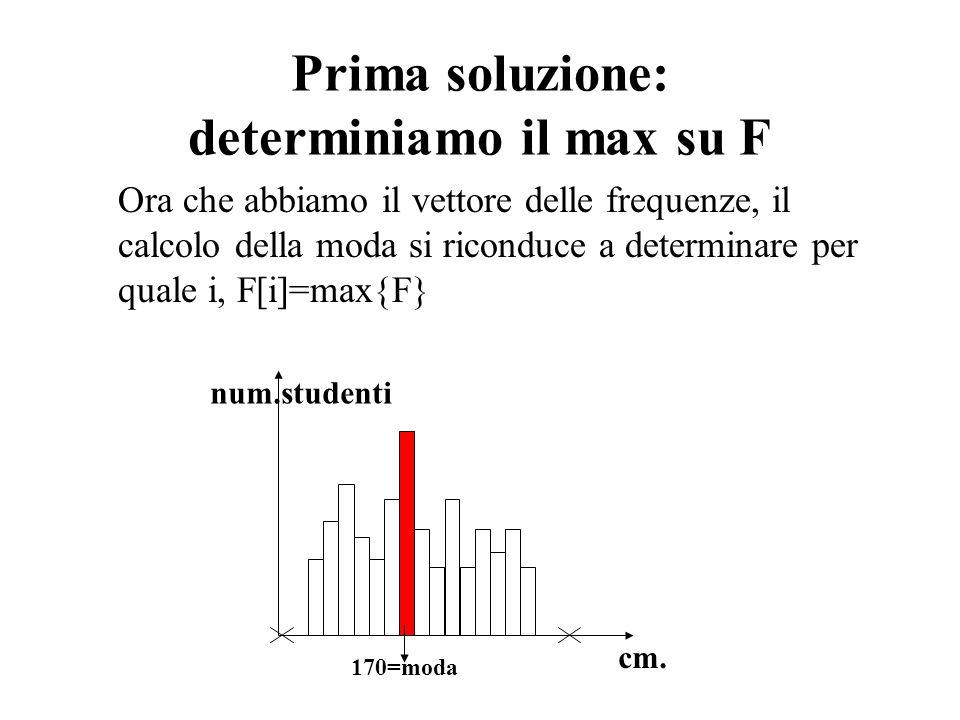 Prima soluzione: determiniamo il max su F Ora che abbiamo il vettore delle frequenze, il calcolo della moda si riconduce a determinare per quale i, F[
