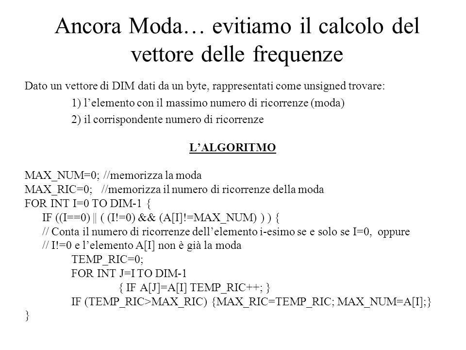 Ancora Moda… evitiamo il calcolo del vettore delle frequenze Dato un vettore di DIM dati da un byte, rappresentati come unsigned trovare: 1) lelemento