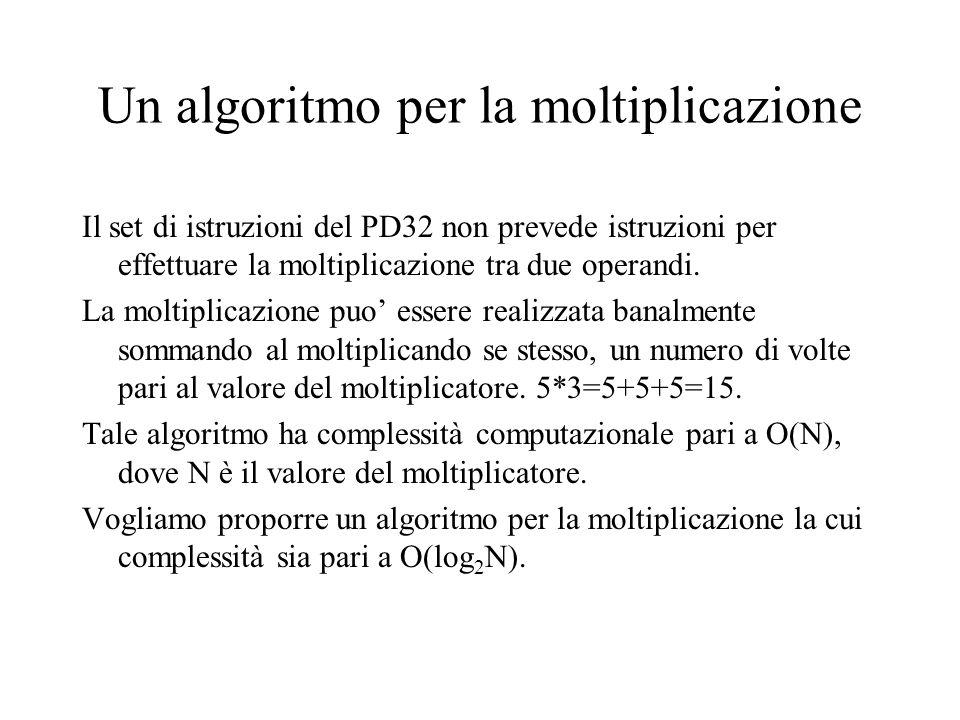 Un algoritmo per la moltiplicazione Il set di istruzioni del PD32 non prevede istruzioni per effettuare la moltiplicazione tra due operandi. La moltip