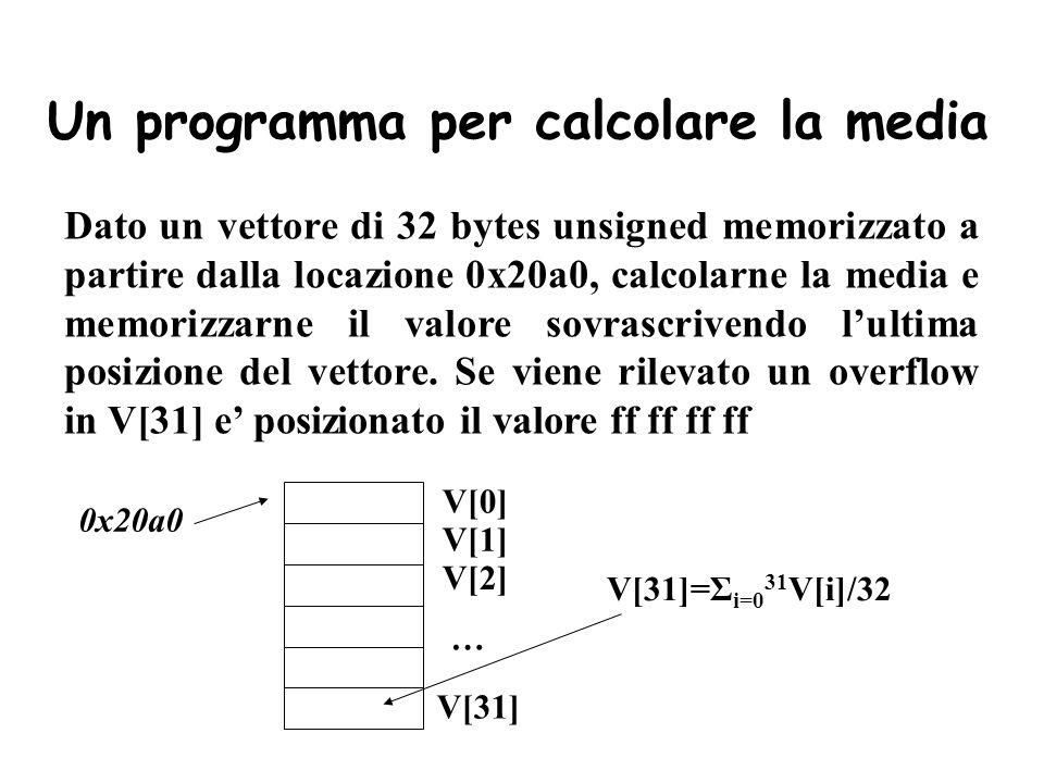 Un programma per calcolare la media Dato un vettore di 32 bytes unsigned memorizzato a partire dalla locazione 0x20a0, calcolarne la media e memorizza