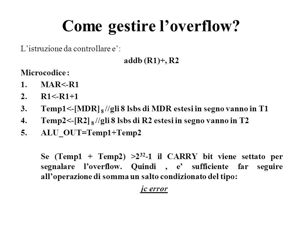 Come gestire loverflow? Listruzione da controllare e: addb (R1)+, R2 Microcodice : 1.MAR<-R1 2.R1<-R1+1 3.Temp1<-[MDR] 8 //gli 8 lsbs di MDR estesi in