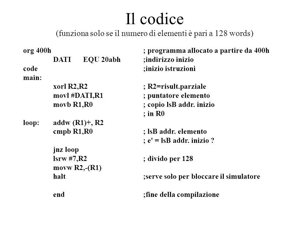 Il codice (funziona solo se il numero di elementi è pari a 128 words) org 400h ; programma allocato a partire da 400h DATI EQU 20abh;indirizzo inizio