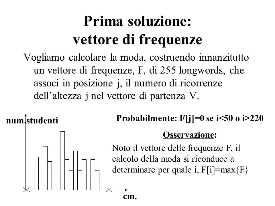 Prima soluzione: vettore di frequenze Vogliamo calcolare la moda, costruendo innanzitutto un vettore di frequenze, F, di 255 longwords, che associ in